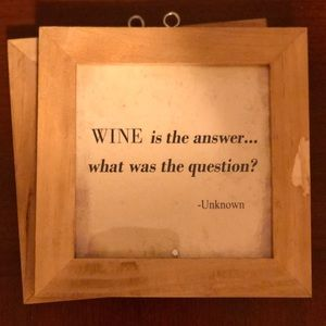 - Wall Art - Wood Wall Sign: Wine Is The Answer